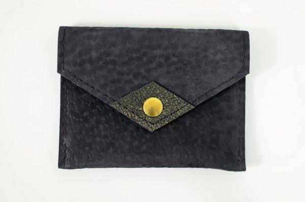 Porte cartes nubuck noir