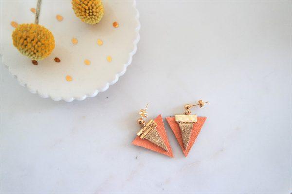 Boucles d'oreilles LES NEW SUBTILES Orange & Or -dorées à l'or fin-