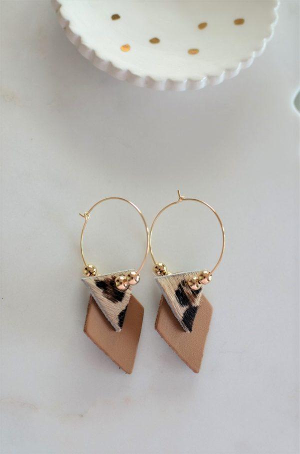 Boucles d'oreilles LES BRILLANTES Camel & Léopard -dorées à l'or fin-