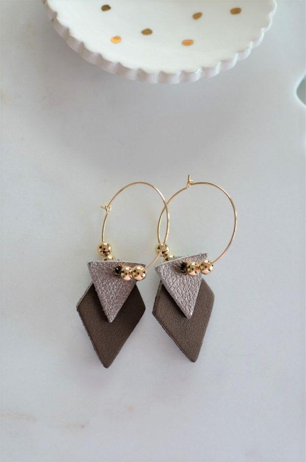 Boucles d'oreilles LES BRILLANTES Marron & métallisé -dorées à l'or fin-