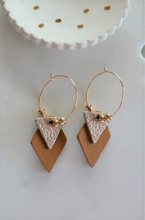 Boucles d'oreilles LES BRILLANTES Moutarde & champagne -dorées à l'or fin-