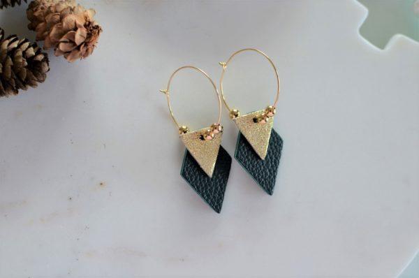 Boucles d'oreilles LES BRILLANTES Vert bouteille & or -dorées à l'or fin-