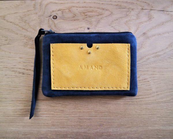 Porte monnaie & Porte cartes en cuir marine et moutarde