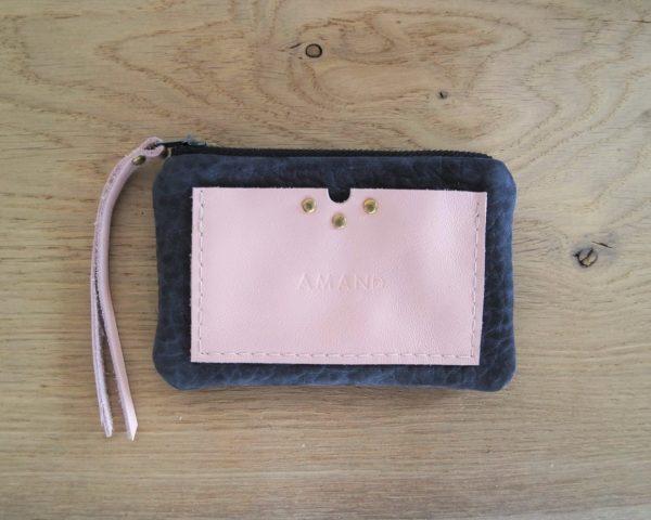 Porte monnaie & Porte cartes en nubuck gris et cuir rose