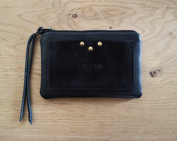 Porte monnaie & Porte cartes en cuir noir