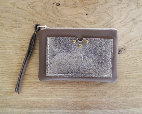 Porte monnaie & Porte cartes en cuir marron et métallisé