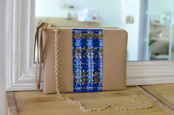 Pochette L'IRRESISTIBLE Caramel & Tissage bleu