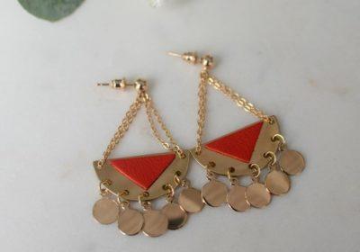 boucles d'oreille atelier amand pampilles rouge or