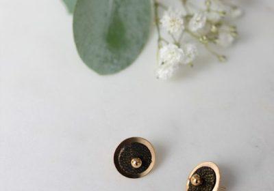 boucles d'oreille atelier amand puce or noir