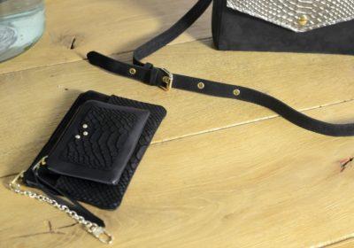 Petite maroquinerie atelier amand cuir noir python