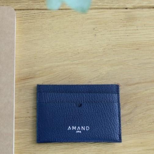 Petite maroquinerie atelier amand porte carte cuir homme marine 1