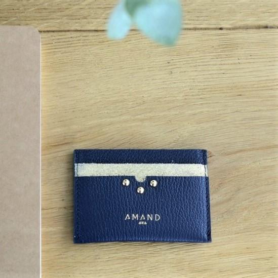 Petite maroquinerie atelier amand porte carte cuir marine (Copier)