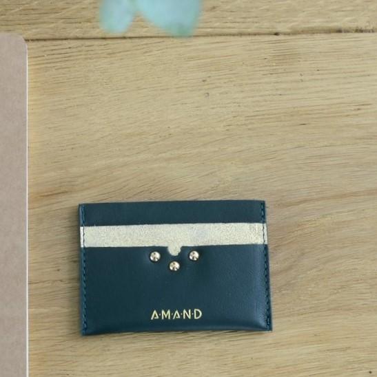 Petite maroquinerie atelier amand porte carte cuir vert
