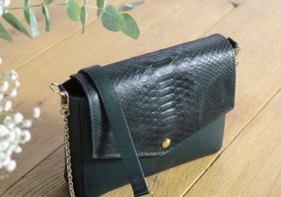 sac atelier amand cuir vert python