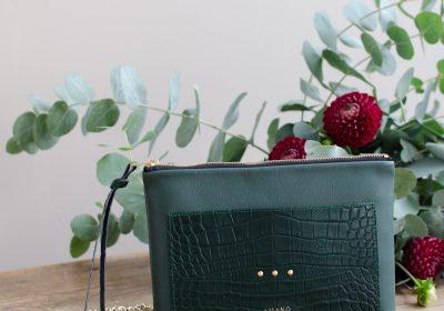 pochette irresistible vert croco atelier amand 1
